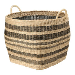 Kouboo - Large Striped Wicker Storage Basket - This large capacity basket hand woven from Wicker is anybody's home organizing dream. Neatly store away your coverlet and decorative bed pillows when not used, your kids toys, your gift wrap rolls, the fire wood in your cabin and many more bulky items. Or are you on the lookout for a decorative cachepot that can take your large house plant? This sturdy basket with solid handles is woven following old traditions without looking dated. 1 year limited warranty.