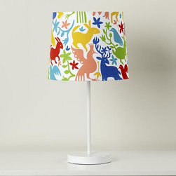 Otomi Printed Table Shade - This lampshade from The Land of Nod is cheery and kid friendly. It features a menagerie of colorful animal figures in a design inspired by traditional Otomi artwork.
