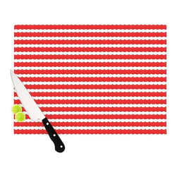 """Kess InHouse - Heidi Jennnings """"Feeling Festive"""" Red White Cutting Board (11"""" x 7.5"""") - These sturdy tempered glass cutting boards will make everything you chop look like a Dutch painting. Perfect the art of cooking with your KESS InHouse unique art cutting board. Go for patterns or painted, either way this non-skid, dishwasher safe cutting board is perfect for preparing any artistic dinner or serving. Cut, chop, serve or frame, all of these unique cutting boards are gorgeous."""