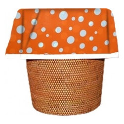 "Designerliners - Orange Polka Dot Waste Basket Bags  Decorative - Reusable -Biodegradable -12 PK - Designerliners decorative waste basket bags enhance any room in your home that has a waste basket. Designerliners come packed ""inside out"" such that when placed inside a waste basket, the design shows on the inside of the container and then flows over the outer lip to form a beautiful outer border. Designerliners are made in the USA from strong 1 mil thick biodegradable plastic. Orange Polka Dot Designerliners measure 17.75 x 19 inches. Available in 12-packs and economy 100-packs."