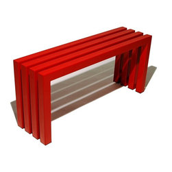 Sarabi - Sarabi Linear Bench - Industry Red Multicolor - 1006 - Shop for Benches from Hayneedle.com! The fact is seating isn't in use all the time. And when it's not shouldn't it be good to look at? That's the attitude infusing the bright bold Sarabi Linear Bench - Industry Red. Crafted with durable fully welded steel tubing cut in clean segments and simply joined this artful bench has a wide-open seat and a rich red powder coat finish. It looks great on the porch or patio but it's ideal for indoor use too - use it as a place to put on shoes in the entryway or create an eclectic look in the dining room by using it instead of chairs along one side of the dining table. We've got two generous sizes to fit every need. Dimensions: 40W x 11D x 18H inches 58W x 11D x 18H inches About Sarabi Studio In Austin Texas it takes three to produce Sarabi Studio's super-modern wares: a lead designer a stainless steel and mild steel artist and a woodworker and metal finisher. Together they create hand-crafted furniture with the ideals set forth by proprietor - and that lead designer - Payam Sarabi: designs that turn heads and make a bold minimal statement.