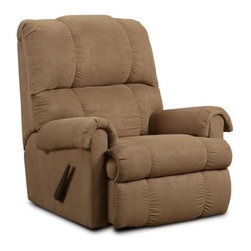 Chelsea Home - Grace Rocker Recliner - Seating comfort: Medium. Kiln dried and crafted of hardwood and cross banded plywood. Precisely assembled with block and staples. Seat cushion is attached. Seat back cushion is attached. Seat cushion is not reversible. No sag steel springs that are tied with insulated border wire for uniform seating. Padded with a polyester pad over the springs. Made from polyester and kiln dried hardwood. Victory lane taupe color. Made in USA. No assembly required. 36 in. W x 36 in. D x 40 in. H (100 lbs.)