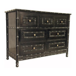 NOIR - NOIR Furniture - Bamboo 7 Drawers Dresser in Hand Rubbed Black - DRE111, Hand Ru - Features: