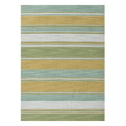 Jaipur Rugs - Jaipur Rugs Flat-Weave Stripe Pattern Wool Blue/Green Area Rug, 4 x 6ft - Bold color is the name of the game with Pura Vida. This beautiful collection of durable, reversible flat-woven dhurries combines the classic simplicity of linear patterns with a decidedly modern palette for a look that's at once casual and sophisticated.