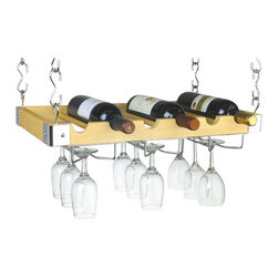 "Concept Housewares - Natural Wood Wine Rack  (6) Bottle Hanging/Wall Wine Rack - Dimensions: 12"" X 23"" x 3"""