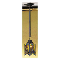 Meyda Tiffany - Meyda Tiffany Pendants Mini Pendant Light Fixture in Mahogany Bronze - Shown in picture: Cottage Mission Mini Pendant; Like Primitive Folk Art - This Beautiful Pendant Is Majestic In Its Simplicity. Created From Dusky Mauve - Olive And Honey Art Glass - And Accented With Clear Glass Jewels - The Shade Is Suspended From Hardware Hand Finished In A Warm Mahogany Bronze.