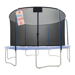 """Upper Bounce - Replacement Trampoline Safety Net-Top & Bottom Ring Enclosure - Upper Bounce Safety Net (for 5 Curved Pole with Top and Bottom Ring Enclosure System) Connects on top with a 1.5""""  Sleeve in which the Ring Enclosure poles slides through. On the bottom It has a sleeve for the bottom ring and it attaches to the frame with Heavy Duty  Clips.. Replacement Trampoline Safety Net For Bazoongi Trampoline Model # BZJP1514C and BZJP1506 or 15 ft Round Frames Using The 5 Curved Pole With Top and Bottom Ring Enclosure Systems (Net Only). Creates a fun jumping experience without limiting visibility. Ensures maximum safety by connecting The Net between the pad and jumping mat. Highly durable Terylene-Quality Safety Net and easy to install. Dual closure entry with zipper and buckles. Fits for a 15 ft. Trampoline Frame that uses the 5 Curved Pole with Top and Bottom Ring Enclosure System-(Net Only). Fits Frame size of 15 FT. . Net width 13 FT. / Net Height 74"""". Sleeve Width 1.5"""". Please make sure you are buying the right size safety enclosure net for your trampoline! Measure your frame from one outside edge vertically & horizontally to the other outside edge so you get the correct measurements.. . Warranty: 90 Day Warranty. 180 in. Diameter x 74 in. HUpper Bounce Trampoline Enclosure Net is a must to have to ensure your family's safety!  Heavy duty Net features a perfect height which gives forth a 100% assurance of keeping a person safe inside while jumping. Now you can enjoy your jumping experience knowing you are fully protected with this high quality weather-proof enclosure net that protects you from any accident. Upper Bounce Safety Net (for 5 Curved Pole with Top and Bottom Ring Enclosure System) Connects on top with a 1.5""""  Sleeve in which the Ring Enclosure poles slides through. On the bottom, It has sleeve for the bottom ring and it attaches to the frame with Heavy Duty  Clips."""