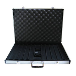 JP Commerce - 1000 Pc Aluminum Poker Chip Case - New and latest executive-style. Stronger reinforced frame structure. Built with heavy duty hinges. Durable case has 2 built-in locks with 2 keys for security. Case has 10 slot dividers that can hold 100 chips per slot, for a total of 1000 chips. Space for 3 decks of standard size playing cards and 5 dice. Fine quality black velvet material interior. Insulated with sponge lining for better protection of the chips. Case made from high grade aluminum. Weight: 10 lbs.