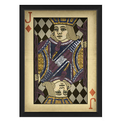 "The Artwork Factory - ""Jack of Diamonds"" Print - The song says, ""Jack o' Diamonds is a hard card to find ...,"" but you may have just gotten lucky. This handsome lord of fortune symbolizes wealth, but also has a mischievous streak, making him a perfect totem for the gambler in cards — business or life. The ornately designed, vintage-style print comes framed and ready to hang."