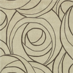 "Loloi Rugs - Loloi Rugs Grant Collection - Beige, 5' x 7'-6"" - Hand-tufted in China of 100-percent polyester, the Grant Collection will give you the fashion interior you've always dreamed of. At once sleek yet softly contemporary, these hip patterns include boxed swirls, undulating stripes and dramatically scaled florals and botanicals. With its pile-and- loop construction, each Grant Collection rug will infuse a rich texture to your home like no other."