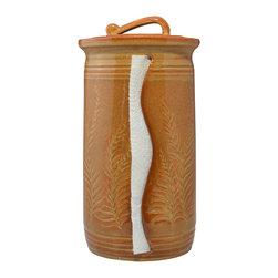 Nutmeg Paper Towel Holder - Carved Leaves -