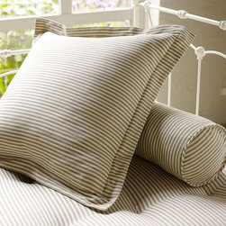 Ticking Stripe Pillow Cover - Euro pillows just look luxurious. They make a bed look its best. I especially love these simple ticking stripe ones.