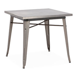ZUO ERA - Olympia Dining Table Gunmetal - This table has a solid steel frame and top in a polished galvanized steel finish.