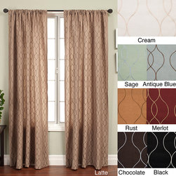 None - Keeva Rod Pocket 120-inch Curtain Panel - Update your home decor with this luxurious window panelWindow treatment showcases a modern design of repeating embroidered wavy lines Curtain features a pocket for easy hanging with a decorative rod