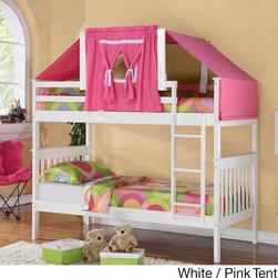 Donco Kids - Mission Twin-size Bunk Bed and Tent Kit - Make bedtime an adventure with this fun and comfortable twin-sized bunk bed set. Crafted of wood with a choice of honey, espresso, cappuccino or white finish, this set is complete with two twin beds and a fun tented top that your little ones will love.