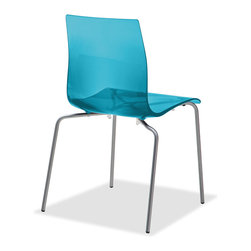 Domitalia - Gel-B Stackable Dining Chair, Transparent Blue - Stacking chair