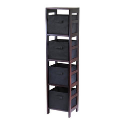Winsome Wood - Walnut Finished Storage Unit w Four Black Fab - This unit has a walnut finish that compliments any décor, and four spacious black storage baskets that are the perfect size for clothes, toys, books, linens, or virtually any other household items. The wood construction provides strength and  long lasting function for years of practical use. * Capri Collection. Walnut finish unit. Black color baskets. Wood Unit. Fabric baskets. Assembly required. Shelf Unit: 13.5 in. L x 11.25 in. W x 55 in. H, 29 lbs. Basket: 10.97 in. L x 10.06 in. W x 9 in. H. 1.2 lbs