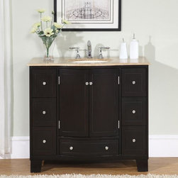 Silkroad Exclusive - Silkroad Exclusive 40-inch Single Sink Cabinet Bathroom Vanity - Add elegance to your bathroom ensemble with this Silkroad Exclusive single sink bathroom vanity. Fully assembled,this vanity is easy to install.
