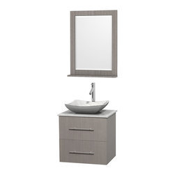"""Wyndham Collection - Centra 24"""" Grey Oak Single Vanity, White Carrera Marble Top, Carrera Marble Sink - Simplicity and elegance combine in the perfect lines of the Centra vanity by the Wyndham Collection. If cutting-edge contemporary design is your style then the Centra vanity is for you - modern, chic and built to last a lifetime. Available with green glass, pure white man-made stone, ivory marble or white carrera marble counters, with stunning vessel or undermount sink(s) and matching mirror(s). Featuring soft close door hinges, drawer glides, and meticulously finished with brushed chrome hardware. The attention to detail on this beautiful vanity is second to none."""
