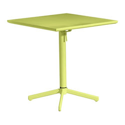 "Zuo - Zuo Big Wave Lime Green Square Outdoor Folding Table - Contemporary lime green outdoor folding table. Modern style perfect for porches patios and near pools. Steel construction coated with 100% epoxy coat weatherproof finish. Safe from weather moisture and UV rays. From Zuo Modern. 27 3/4"" wide. 27 3/4"" deep. 29 1/2"" high.  Contemporary lime green outdoor folding table.   Modern style perfect for porches patios and near pools.   Steel construction coated with 100% epoxy coat weatherproof finish.   Safe from weather moisture and UV rays.   From Zuo Modern.   Some assembly required.  27 3/4"" wide.    27 3/4"" deep.   29 1/2"" high."