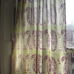 Curtain - This beautiful lightweight, semi translucent curtain, has been hand block printed that looks beautiful when held to the light. Perfect for filtering bright daylight or providing added privacy. Each curtain has hand ties at the top for easy installation on any curtain rod & a border design at the top.
