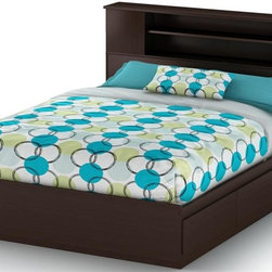 South Shore - Full Queen Bedset w Bookcase Headboard - Vito - Manufactured from eco-friendly, EPP-compliant laminated particle boardcarrying the Forest Stewardship Council (FSC) certification. Adjustable for a full bed and queen bed . Features 2 practical drawers. Box spring not required. Smart Glide drawer slides feature stops and built-in dampers. Mattress and pillows are not included. Transitional style. Ready to assemble. Assembly required. 5-Year Warranty. Bed: 82 in. L x 62 in. W x 14 in. H. Full/queen bookcase headboard: 63.5 in. L x 9 in. W x 40.25 in. HManufactured from laminated particle board. Our products are made of EPP certified panels (Environmentally Preferred Product). This item's packaging is ISTA 3A-certified to ensure its integrity and your total satisfaction. Shrink-wrapped packaging with reinforced corners to reduce the risk of shipping damage.