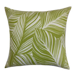 The Pillow Collection - Lehel Floral Pillow Green - This bold graphic throw pillow will transform your home into a garden. This accent pillow features a leaf pattern in soothing colors of green and white. This square pillow comes with a spring-inspired design, which is perfect for the new season. You can use this decor pillow anywhere inside your home from your living room to your bedroom. The casual design blends well with any furniture pieces. Crafted from 100% high-quality cotton material. Hidden zipper closure for easy cover removal.  Knife edge finish on all four sides.  Reversible pillow with the same fabric on the back side.  Spot cleaning suggested.