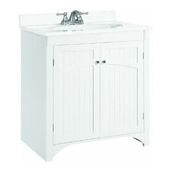 DHI-Corp - Cottage White Vanity Cabinet with 2 Doors - The Design House 541565 Cottage White Vanity Cabinet features a durable white finish and satin nickel hardware. Perfect for an elegant country style home, this vanity features wainscoting plank style panels, clean lines and concealed hinges. The 2-door construction gives you plenty of storage for toiletries to keep your countertop free of clutter. The doors open with a fluid motion, do not whine or creak and can endure moderate stress. Measuring 30-inches by 21-inches by 33.5-inches, this vanity can fit into a small to medium sized bathroom. Traditional construction meshes with subtle modern details to quickly brighten up your bathroom. This product is perfect for remodeling your bathroom and will match granite countertops and colored walls. The Design House 541565 Cottage White Vanity Cabinet has a 1-year limited warranty that protects against defects in materials and workmanship. Design House offers products in multiple home decor categories including lighting, ceiling fans, hardware and plumbing products. With years of hands-on experience, Design House understands every aspect of the home decor industry, and devotes itself to providing quality products across the home decor spectrum. Providing value to their customers, Design House uses industry leading merchandising solutions and innovative programs. Design House is committed to providing high quality products for your home improvement projects.