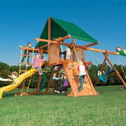 """Outback 5' - """"Outback,"""" in your own yard is the perfect place to teach your little one how to climb the ladder for the first time!  With this perfect sized 5' set, you can easily reach to help, or sit back and watch. The fun starts here!"""