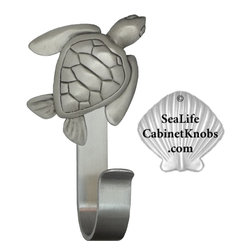 Seashore Towel Hooks - Seashore robe hooks cast in fine pewter, mounted on a sturdy custom fabricated aluminum hook.