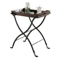 Monarch Specialties - Monarch Specialties 28 x 17 Rectangular End Table with Removable Tray in Cherry - Be the hostess with the mostess with this cherry solid wood serving tray! Set up this server to serve appetizers, snacks or drinks or to conveniently serve your guests with the removable tray. Also good for breakfast in bed, the charcoal black metal legs provide excellent support for this server. A must-have piece for all! What's included: End Table (1).