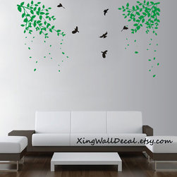 branch wall stickers decals green leaves birds for kids children girl boy baby r -