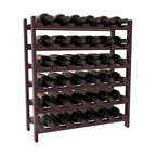 36 Bottle Stackable Wine Rack in Redwood with Burgundy Stain + Satin Finish - A pair of discounted wine racks allow double wine storage at a low price. This rack accommodates all 750ml bottles, Pinots and Champagnes. The quintessential DIY wine rack kit. Your satisfaction is guaranteed.