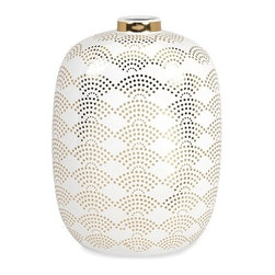 """IMAX - Olivia Tall Vase - With simplified scale pattern decals in a brilliant gold, the tall Olivia vase feature a crisp, white finish and adds a sophisticated charm to any modern decor. Designed by Iffat Khan. Item Dimensions: (17.5""""h x 13""""w x 13"""")"""