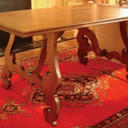 British Traditions - 6 Ft. Long Maple Dining Table w Large Adjustable Legs (Wild Blueberry) - Finish: Wild Blueberry. Each finish is hand painted and actual finish color may differ from those show for this product. Maple dining table. Large, flat, curlicue legs. No apron. Legs are adjustable. Minimal assembly required. Clearance under top: 28.25 in. H. 72 in. L x 38 in. W x 30 in. H (185 lbs.)The Lucca Maple table has adjustable legs to better fit your space.