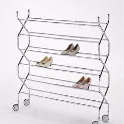 ORE International - Criss Cross 6 Tier Shoe Rack - Inspired by the accordion, this contemporary 6 tier shoe rack (7 inches between tiers) will add a modern touch to any room and setting. This design is adjustable in length (up to 46 inches) to accommodate any amount of shoes one may have . Accompanied with 4 wheels for great mobility with secured and tight safety locks to keep the rack in place. Made with durable and sturdy chrome finished stainless steel frames that is easily assemble . 30 in. L x 12 in. W x 47 in. H (9 lbs.)