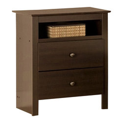 Prepac Furniture - Prepac Fremont Espresso Tall Night Stand with Open Cubbie - The versatile and stylish Fremont Espresso Tall Night Table is simple in design, featuring two generously sized drawers and an arched decorative apron. Well-suited to a number of decors, a profiled top and solid antiqued bronze accents combine with a warm Espresso finish to make a welcoming contemporary statement to your room.