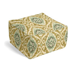Tan & Aqua Ikat Medallion Custom Pouf - The Square Pouf is the hottest thing in decor since the sectional sofa. This bean bag meets Moroccan style ottoman does triple duty as a comfy extra seat, fashion-forward footstool, or part-time occasional table.  We love it in this golden beige, seafoam & aqua medallion textured cotton ikat on cotton makes way for an eclectic tribal sensation.  humble abode to opulent oasis?
