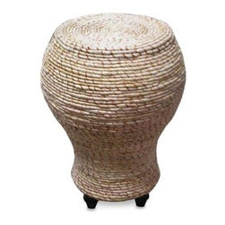 Padma's Plantation - Tropical Pedestal Table - A uniquely shaped abaca rope table adds visual and textural interest to your living room landscape. This one features abaca weaving, a sturdy rattan frame, and hardwood feet.