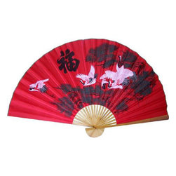 Oriental-Decor - Three Cranes in the Lucky Color Asian Wall Fan - Red symbolizes energy and courage. Three white cranes are believed to bring new opportunities. Together, the cranes flying against a red backdrop will fill your wall and your home with luck and drama.