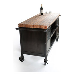 Custom Industrial Bar Reclaimed Train Car Floor Top - !This custom bar was created for a clients office and is featuring a reclaimed train-car floor top. The butcher block style top is sealed with food safe oil. A wine glass rack was installed along with amazing custom handles. The patina is hand done in several layers giving the steel cart and casters the beautiful vintage industrial finish.
