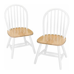 Winsomewood - Set Of 2 Windsor Chairs, Assembled - Quality built Windsor chair. Solid wood construction. Fully assembled. Smooth Contour seat gives extra comfy. White frame with Natural seat.