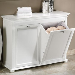 Home Decorators Collection - Hampton Bay Tilt-Out Hamper - The tilt-out design of the Hampton Bay Hamper allows you to conveniently hide your laundry in style. This traditionally designed hamper will withstand frequent, heavy use. Bring style to your bathroom today with a traditional hamper. Has a washable cotton lining held in place by Velcro. Features stylish details like recessed panels and bun feet. Also works great as a recycling bin.