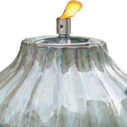 "Smart Solar - Prometheus Ceramic Fire Pot - 10"" H - Morning Dew - The Prometheus ceramic fire pot is an outdoor accent piece perfect for lining walkways or as a centerpiece on a table. Create warmth and ambiance with this hand crafted fire pot with a unique Morning Dew glazed finish. It burns for approximately one hour with clean burning gel fuel that is sold separately. Includes flame snuffer.Hand crafted 10""H ceramic fire pot. Outdoor accent piece to line walkways or use as centerpiece. Includes flame snuffer. Finished with a Morning Dew glaze. Aluminum cylinder. Burns for approximately 1 hour using clean burning gel fuel (sold separately). Can be used with citronella gel fuel to keep mosquitoes away. One year limited warranty."