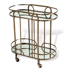 Interlude - Interlude Hayes Bar Cart - Bringing together mirror and antique brass in an evocative silhouette, the Hayes Bar Cart lends an art deco vibe wherever it's rolled.