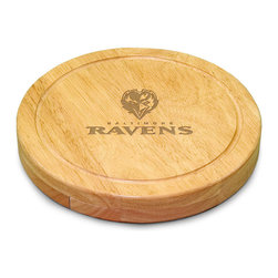 """Picnic Time - Baltimore Ravens Circo Cheese Board in Natural Wood - The Circo by Picnic Time is so compact and convenient, you'll wonder how you ever got by without it! This 10.2"""" (diameter) x 1.6"""" circular chopping board is made of eco-friendly rubberwood, a hardwood known for its rich grain and durability. The board swivels open to reveal four stainless steel cheese tools with rubberwood handles. The tools include: 1 cheese cleaver (for crumbly cheeses), 1 cheese plane (for semi-hard to hard cheese slices), 1 fork-tipped cheese knife, and 1 hard cheese knife/spreader. The board has over 82 square inches of cutting surface and features recessed moat along the board's edge to catch cheese brine or juice from cut fruit. The Circo makes a thoughtful gift for any cheese connoisseur!; Decoration: Engraved; Includes: 1 cheese cleaver (for crumbly cheeses), 1 cheese plane (for semi-hard to hard cheese slices), 1 fork-tipped cheese knife, and 1 hard cheese knife/spreader"""