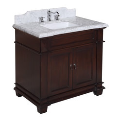 Kitchen Bath Collection - Elizabeth 36-in Bath Vanity (Carrera/Chocolate) - This bathroom vanity set by Kitchen Bath Collection includes a chocolate cabinet with soft-close drawer and self-closing door hinges, Italian Carrera marble countertop with stunning beveled edges (an incredible 1.5 inches thick at the edge!), undermount ceramic sink, pop-up drain, and P-trap. Order now and we will include the pictured three-hole faucet and a matching backsplash as a free gift! All vanities come fully assembled by the manufacturer, with countertop & sink pre-installed.
