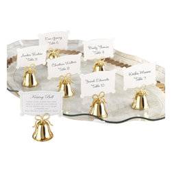 "Handcrafted Model Ships - Gold Bells Place Card and Photo Holder 2"" - Set of 24 - As you and your groom take every opportunity to express the love that brought you here, let family and friends call for a kiss every now then! They will absolutely love the gold finish kissing bells-favors that celebrate the bliss of a kiss."