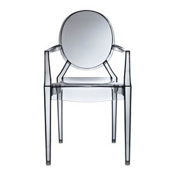 IFN Modern - Ghost Style Armchair-Smoke - Philippe Starck, the French product designer was born in Paris in 1949. With regards Furniture, he is famous for his designs that are made from polycarbonate plastic. Unlike most other New Design artists, Starcks work does not concentrate on creating provocative and expensive single pieces. His products and furnishings are often stylized, streamlined and organic in their look and are also constructed using unusual combination of materials. The Signature Ghost Chair presents a unique mix of creativity and sturdiness. The chairs are durable, can be stacked and are great for both outdoor and indoor use. The Ghost Chair almost disappears into the background as if to faintly impose its distinguishing design element into the room.