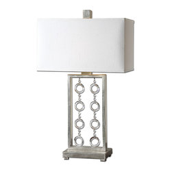 Uttermost - Arlena Crystal Accent Table Lamp - Lights will be dancing in your home when you turn on this stylish table lamp. Watch the light catch on the crystal accent rings and reflect off the antiqued silver leaf base. The open design gives an airy, floating feeling to your decor.